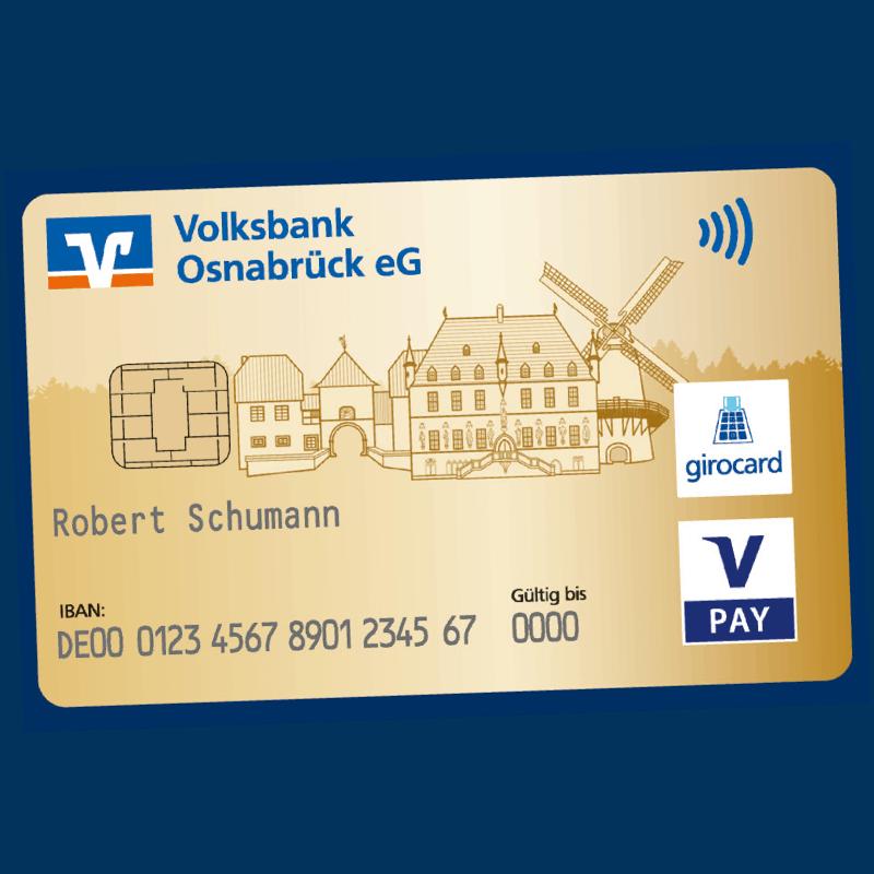 Goldene Debitkarte der Volksbank Osnabrück eG.